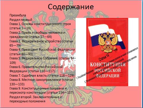 Презентации на конституции тему