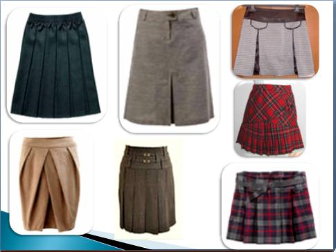 Разновидность складок юбки