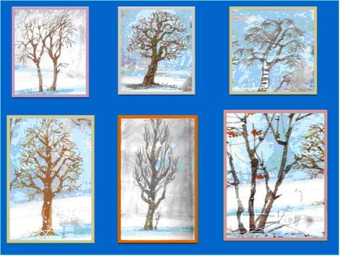 Деревья и кустарники зимой рисунки