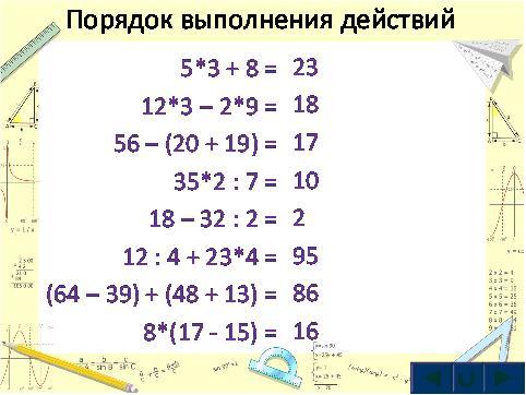 Устный счет на уроках математики 5 класс.