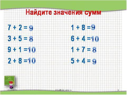 урока математики для 1