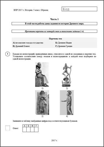 Контрольные работы по истории История Образец ВПР по истории 5 класс