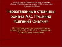 Неразгаданные страницы романа Евгений Онегин